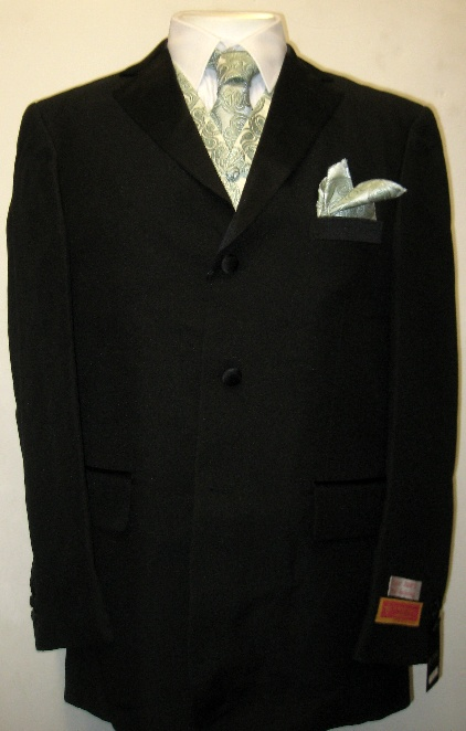 New Era Factory Outlet, Inc. New Mens Seven Piece Complete Black Tuxedo (Jacket, Pants, Shirt,  Cummerbund) with Green Paisley Vest, Tie, Handkerchief at Sears.com