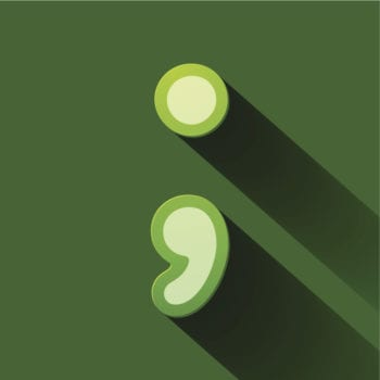 A green semicolon on a green background in a colorful, modern style.