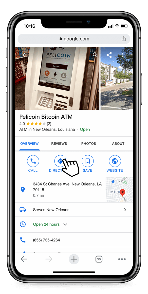User clicking on directions to Pelicoin Bitcoin ATM
